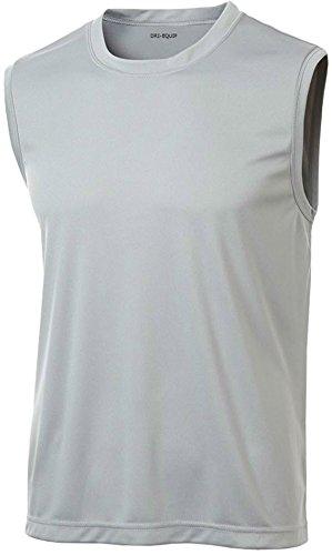 (DRIEQUIP Mens Sleeveless Moisture Wicking Muscle T-Shirt-Silver-M)