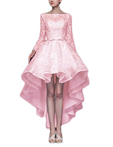 KAY&LAYLA Hi-low Long Sleeves Lace Prom Wedding Homecoming Dresses Pink 6