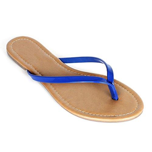 Womens Summer Flat Flip Flops Slip on Sandals Shoes (8, Royal Blue) Blue Thongs Flip Flops