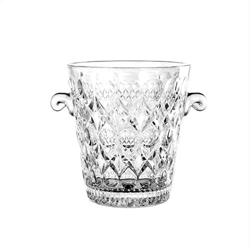 PLLXY Glass Ice Bucket with Handle,Star-Cut Design Champagne Bucket,Clear Wine Cooler Wine Bucket Ice Tub for Wedding Parties Bar-a 2l
