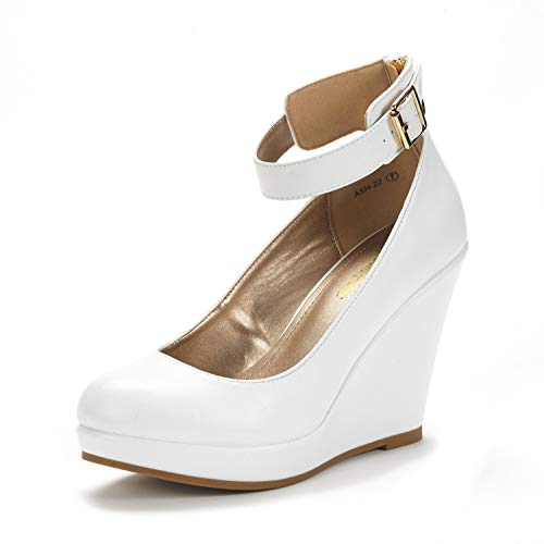 (DREAM PAIRS Women's ASH-22 White Pu Mary Jane Round Toe Platform Fashion Wedges Pumps Shoes Size 11)