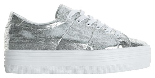 Up Platform Sneakers Silver Womens AnnaKastle Top Low Lace Chunky 6RxZqg