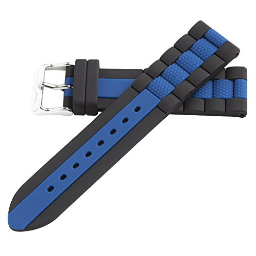 20mm Blue Silicone Rubber Dive Watch Band Strap Fits Pebble Hadley Roma MS3344 (Strap Silicon Dive)