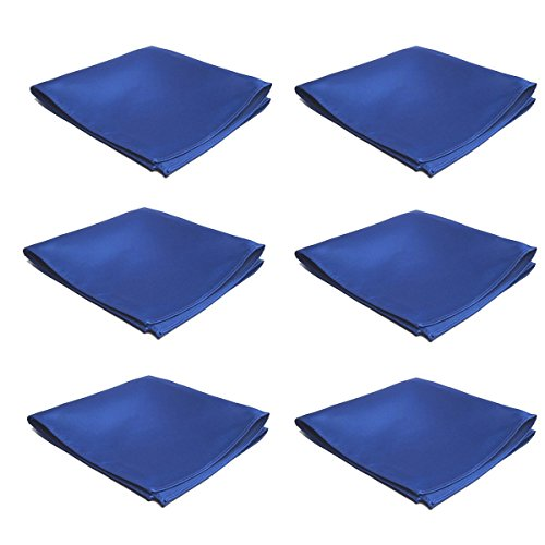 Mens Pocket Squares Handkerchief 6 PK Wedding Party Solid Color Handkerchiefs (Royal - Square Handkerchief Pocket