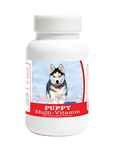 Healthy Breeds Puppy Multi Vitamin for Siberian Husky - Over 100 Breeds - Veterinarian Formulated Daily Dietary Supplement - Liver Flavored Treats - 60 ()