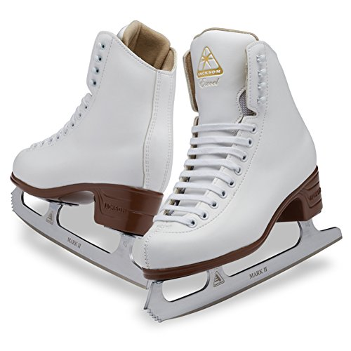 Jackson Ultima Excel JS1290 White Womens Ice Skates with Mark II blades, Width C, Adult 6