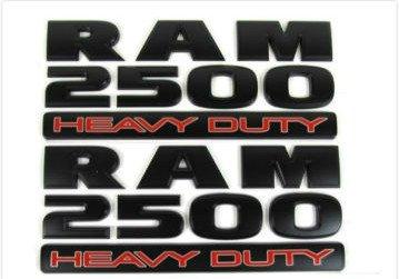 Minigo DR-25HB Set of 2 Ram 2500 HEAVY DUTY Side Fender Emblem Badges For Dodge Ram 2500 (Black)