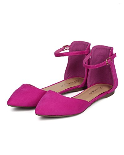 Breckelles CB06 Women Mixed Media Pointy Toe Ankle Strap DOrsay Flat Magenta 92NZiIOYl