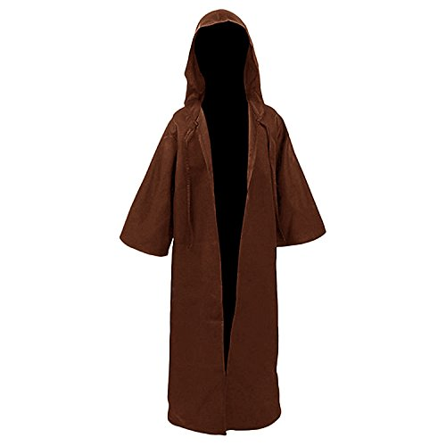 H&ZY Unisex Tunic Halloween Robe Hooded Cloak Costume Kid Coffee -