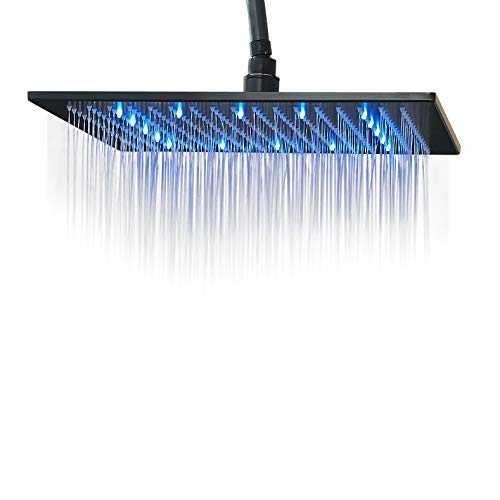 Rozin LED Light 16-inch Rainfall Shower Head Bathroom Square Top Sprayer Oil Rubbed Bronze(black)