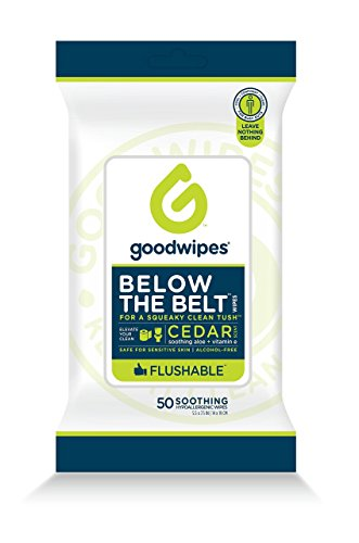 Price comparison product image Goodwipes Flushable Men's Cleansing Butt Wipes with Aloe, Vitamin E and Chamomile, 100% Biodegradable Dispenser Pack 1 pack, 50 count