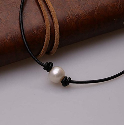 Aphaca Freshwater Pearl Choker Leather Necklace for Women Rope Necklace Jewelry Handmade (2 pcs Necklace) by Aphaca (Image #1)
