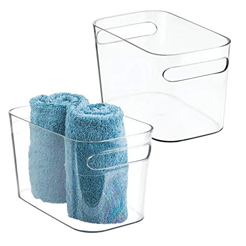 mDesign Deep Plastic Bathroom Vanity Storage Bin with Handles - Organizer for Hand Soap, Body Wash, Shampoo, Lotion, Conditioner, Hand Towel, Hair Brush, Mouthwash - 10 Long, 2 Pack - Clear