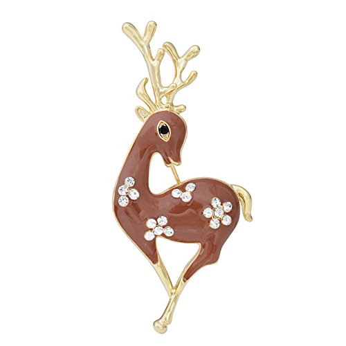 OBONNIE Clear Rhinestone Crystal Christmas Enamel Deer Reindeer Breastpin Pin Brooch Women Jewelry Pins (Brown) -