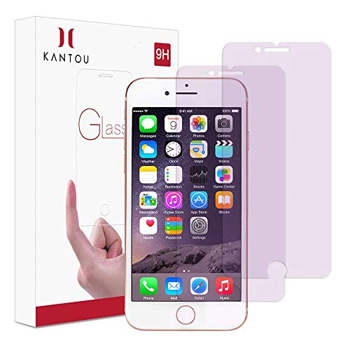 Kantou Screen Protector Compatible for iPhone 8 iPhone 7 [Anti-Blue Light Ray] [2 Packs] iPhone 8 7 Eye Protect Tempered Glass Screen Protector, Anti-UV, Anti-Fingerprints, 3D Touch, Anti-Glare, 4.7
