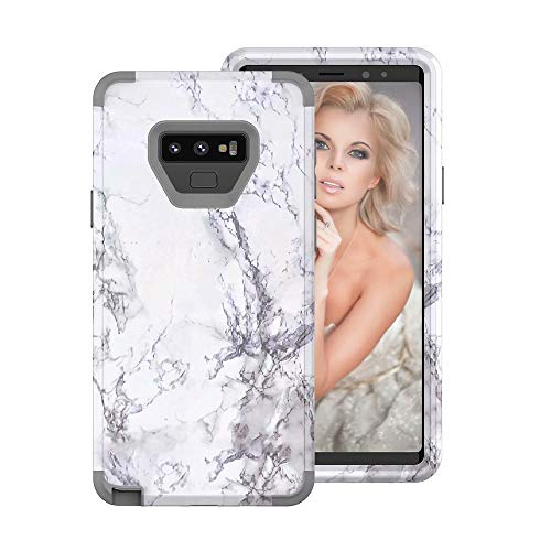 Price comparison product image Buybuybuy Galaxy Note 9 Case,  Granite Marble Contrast Color PC Hard Phone Cover Hybrid Shockproof Hard Back Durable Bumper Protective Phone Case Cover for Samsung Galaxy Note 9 (2018) (GRAY)