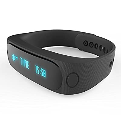 Forestfish(TM) Bluetooth Sync Smart Bracelet Sports Fitness Tracker Smart Wristband Water Resistant Tracker Bracelet Sleep Monitoring Anti-lost Smart Watch (Black)