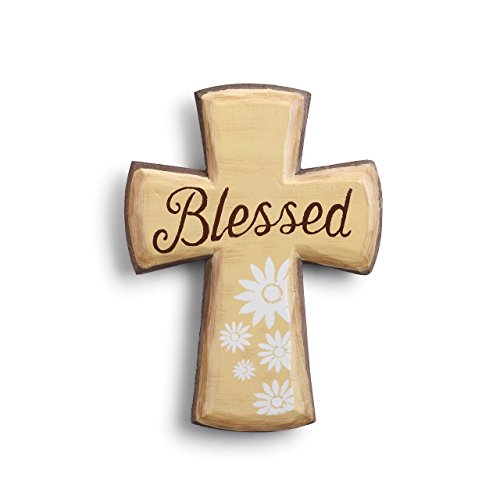 (Blessed Cross Religious Floral White On Tan 7 x 6 Paulownia Wood Magnetic)