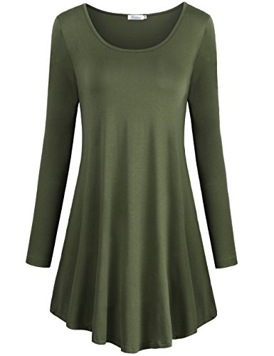 Faddare Tunic Dress Long Sleeve, Women's Scoop Neck Flare Summer Shift Dresses, Army Green (Paisley Jersey Scoop Neck Dress)