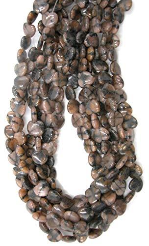 Chiastolite (Cross Stone) 12mm Heart Pear Beads, 16 inch Strand