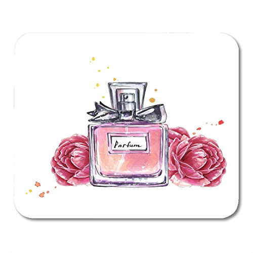 """Price comparison product image Boszina Mouse Pads Aroma Pink Vintage Perfume Bottle and Flowers Watercolor in Sketch Style Accessory Beauty Mouse Pad for notebooks,Desktop Computers mats 9.5"""" x 7.9"""" Office Supplies"""