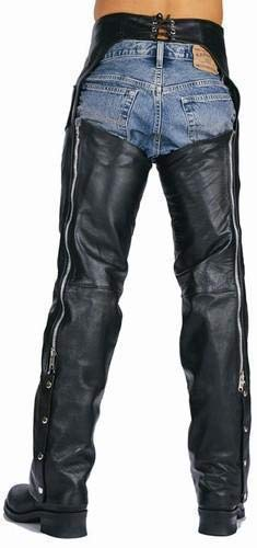 Xelement 7550 'Classic' Black Unisex Leather Motorcycle Chaps - 34