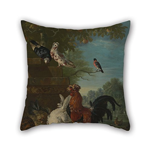 Oil Painting Peter Casteels - Domestic Cock, Hens, And Chicks In A Park Cushion Cases 18 X 18 Inches / 45 By 45 Cm For Son Boys Play Room Living - Delivery Time Domestic Mail
