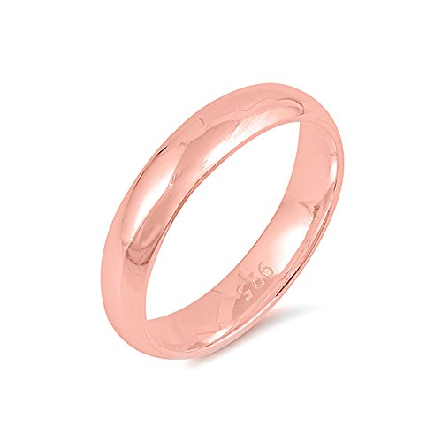 Sterling Silver Rose Gold Plated Wedding Band Ring - 4 mm