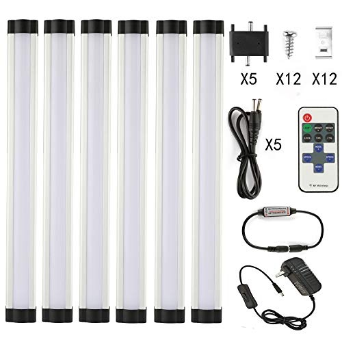 LXG Dimmable LED Under Cabinet Lighting,18W 5000K Daylight 1600LM, Milk Cover Led Strips,11key IR Remote Control ,6 Pack (Best Running Routes In Dc)