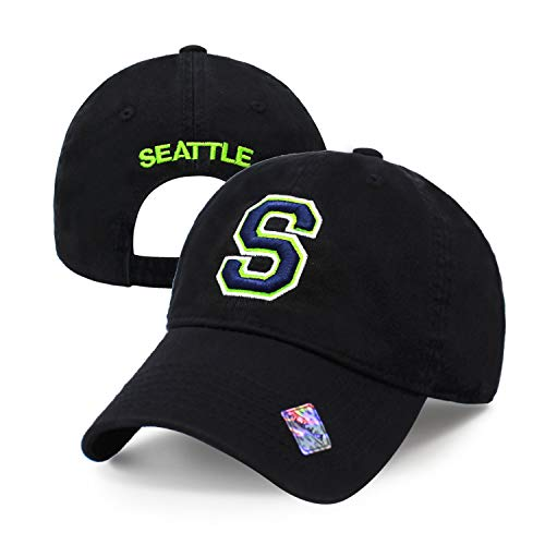 Football City Initial Letter Cotton Cap Dad Hat Baseball Cap Polo Style Low Profile (Seattle) ()