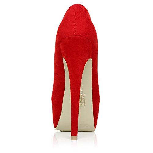 talons à Plateforme Effet hauts daim Chaussures Rouge DONNA EgwvqWa5Wn