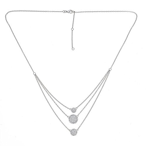 Platinum Plated 925 Sterling Silver Round CZ Multi layer Disc Dot Strand Necklace