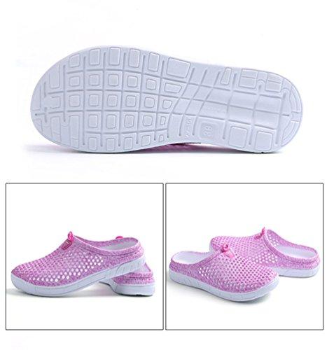 YOUJIA Unisexo Verano Al aire libre Respirable Zuecos Zapatos de la playa Agua Plano Zapatillas #2 Pink