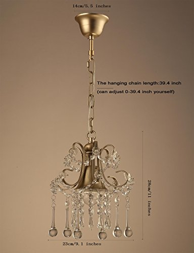 Garwarm Mini Style Clear Crystal Chandeliers, Ceiling Lights,Crystal Pendant Light,Ceiling Light Fixtures for Living Room Bedroom Restaurant Porch Chandelier,1-Light,Champagne by Garwarm (Image #2)