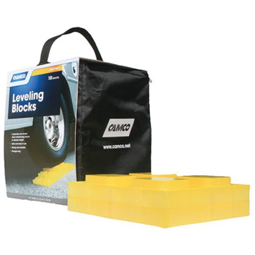 Camco Grey Duty Leveling Blocks, Ideal For Leveling Single and Dual Wheels, Hydraulic Jacks, Tongue Jacks and Tandem Axles (10 bundle)