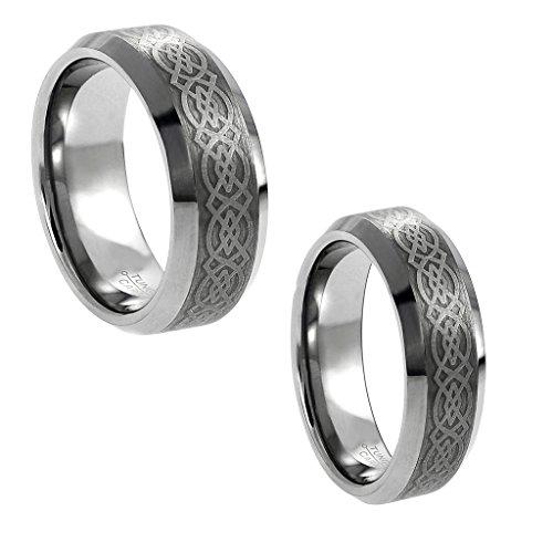Wedding Band Ring Set For Him & Her - 8MM/6MM Tungsten Carbide Shiny Beveled Edge with Celtic Knot Design Center Celtic Wedding Set