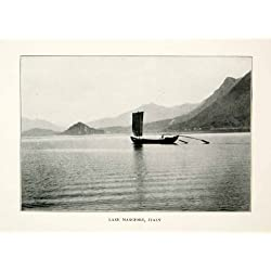 1914 Print Lake Maggiore Italy Sail Boat Paddle Landscape Alps Mountains Europe - Original Halftone Print