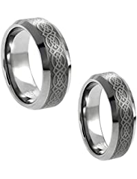 Wedding Band Ring Set For Him & Her - 8MM/6MM Tungsten Carbide Shiny Beveled Edge with Celtic Knot Design Center