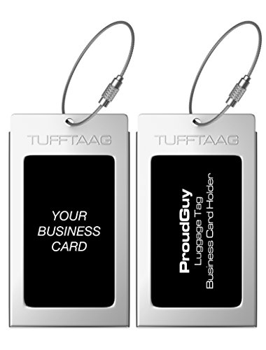 Luggage Tags Business Card Holder TUFFTAAG PAIR Travel ID Bag Tag - Stainless Steel