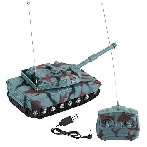 Dilwe RC Tanks Airsoft, Turret 360° Manually Rotation Music Story Light Toy Tank for Kids