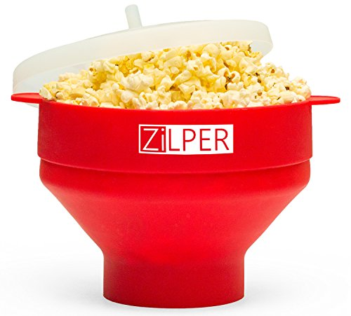 Zilper Silicone Popcorn Maker for Microwave (Red) - Collapsible Popper with Lid - BPA PVC Free - 100% Quality Food Grade Silicone - Cook Healthy Popcorn - No Oil Needed - Free Set of Coasters for Cups
