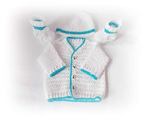 Crochet Baby Outfit Cardigan Hat Shoes ()
