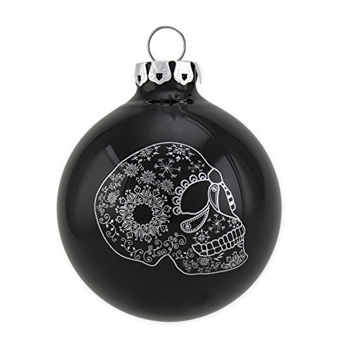 Christmas Ornaments, Christmas Balls with Printed Skull on Black Glossy Enamel, Glass, Handmade, 3 pc Set, Size 8cm (3.15