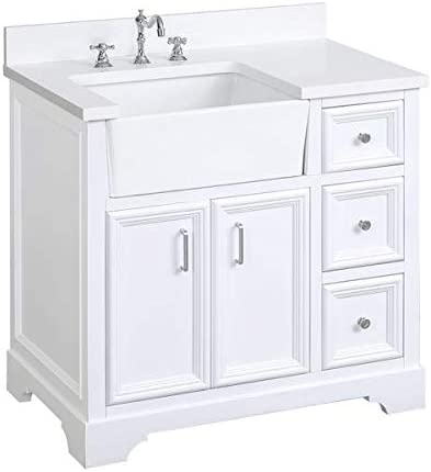 Amazon Com Zelda 36 Inch Bathroom Vanity Quartz White Includes White Cabinet With Stunning Quartz Countertop And White Ceramic Farmhouse Apron Sink Kitchen Dining