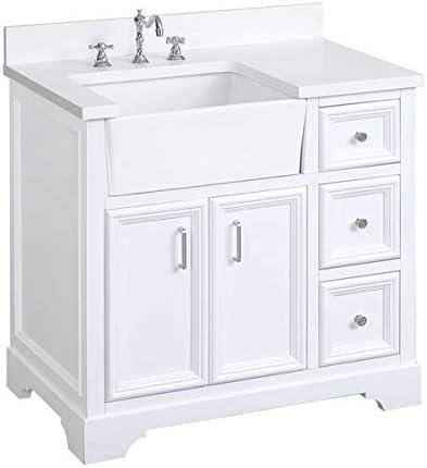 Zelda 36-inch Bathroom Vanity Quartz/White : Includes White Cabinet