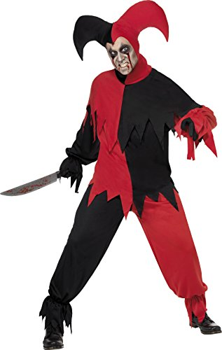 Smiffy's Men's Dark Jester Costume, Top, pants and Hat, Cirque Sinister, Halloween, Size M, 32707