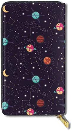 BGHYT Brieftasche Cosmos Starry Planets Illustration Large Capacity Zip Around Slim Billfold Real Leather Wallet Card Holders for Men Women Boy Girl