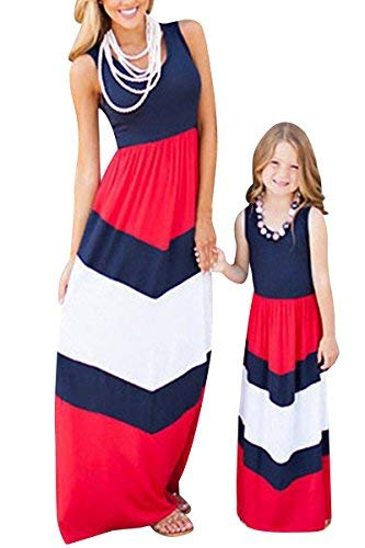 BYM Womens Boho Chevron Striped Print Summer Sleeveless Tank Long Maxi Party Dress Blue+Red M