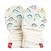 goumikids goumimitts, Scratch Free Baby Mittens, Organic Soft Stay On Unisex Mittens, Stops Scratches Prevents Germs (3-6 Months, Dino)