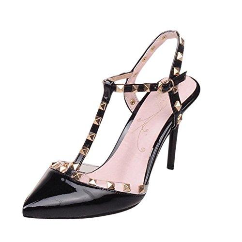 MissSaSa Damen Pointed Toe T-Spange slingback Pumps mit Nieten und Stiletto modern und elegant Schnalle Kleidschuhe Schwarz